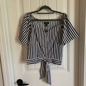 Cropped navy & white blouse from ASOS NWT